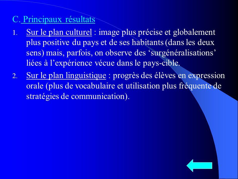 C. Principaux résultats 1. Sur le plan culturel : image plus précise et globalement plus positive du pays et de ses habitants (dans les deux sens) mai
