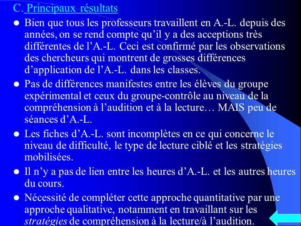 C. Principaux résultats Bien que tous les professeurs travaillent en A.-L.