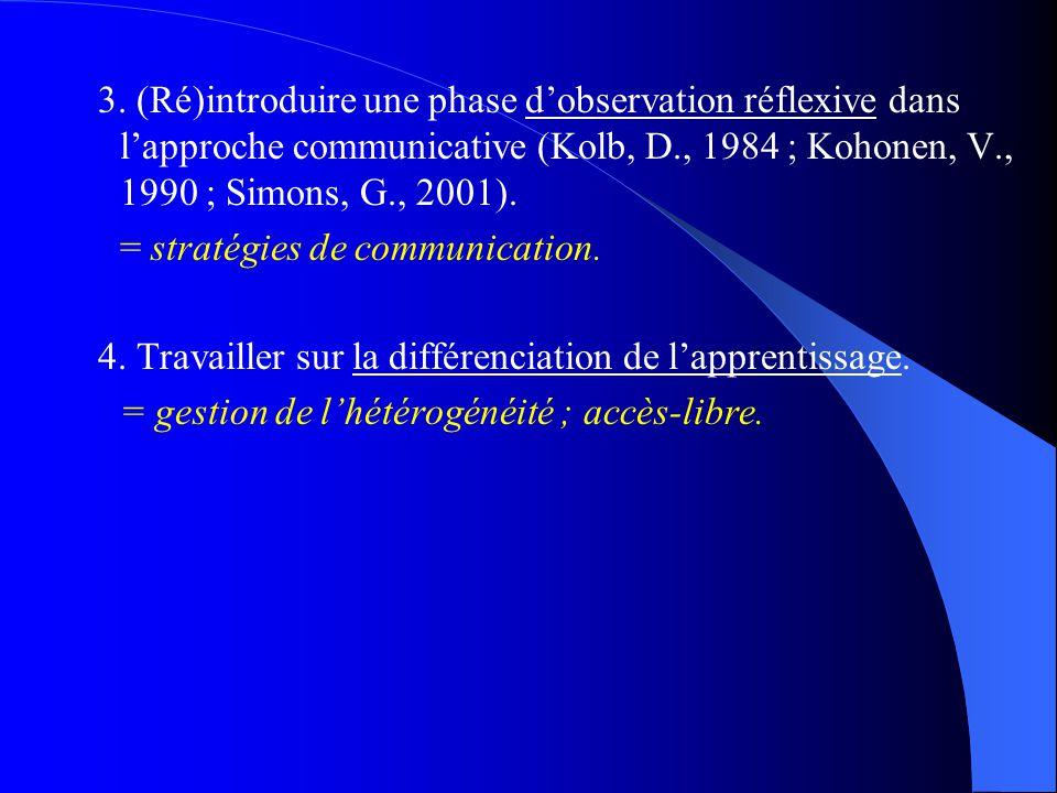 3. (Ré)introduire une phase d'observation réflexive dans l'approche communicative (Kolb, D., 1984 ; Kohonen, V., 1990 ; Simons, G., 2001). = stratégie