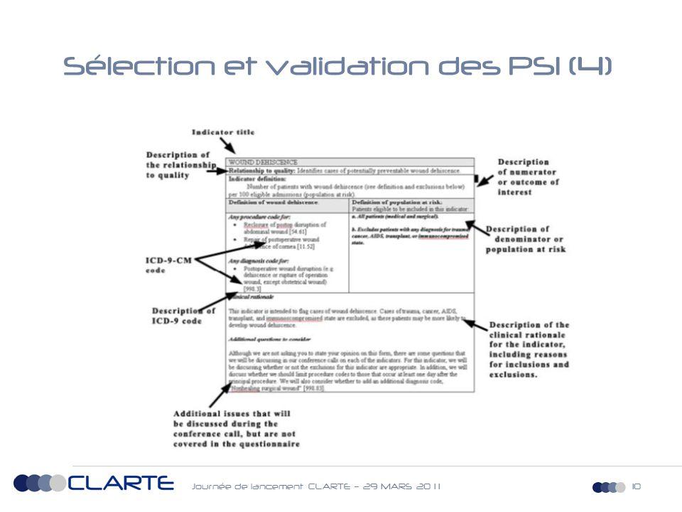 Journée de lancement CLARTE – 29 MARS 20 1 110 Sélection et validation des PSI (4)