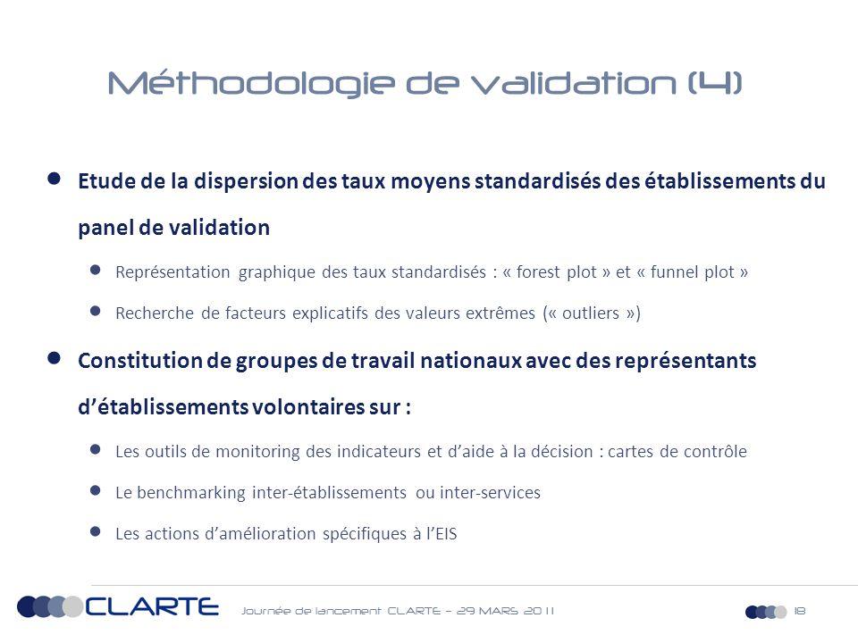 Journée de lancement CLARTE – 29 MARS 20 1 118 Méthodologie de validation (4)  Etude de la dispersion des taux moyens standardisés des établissements du panel de validation  Représentation graphique des taux standardisés : « forest plot » et « funnel plot »  Recherche de facteurs explicatifs des valeurs extrêmes (« outliers »)  Constitution de groupes de travail nationaux avec des représentants d'établissements volontaires sur :  Les outils de monitoring des indicateurs et d'aide à la décision : cartes de contrôle  Le benchmarking inter-établissements ou inter-services  Les actions d'amélioration spécifiques à l'EIS