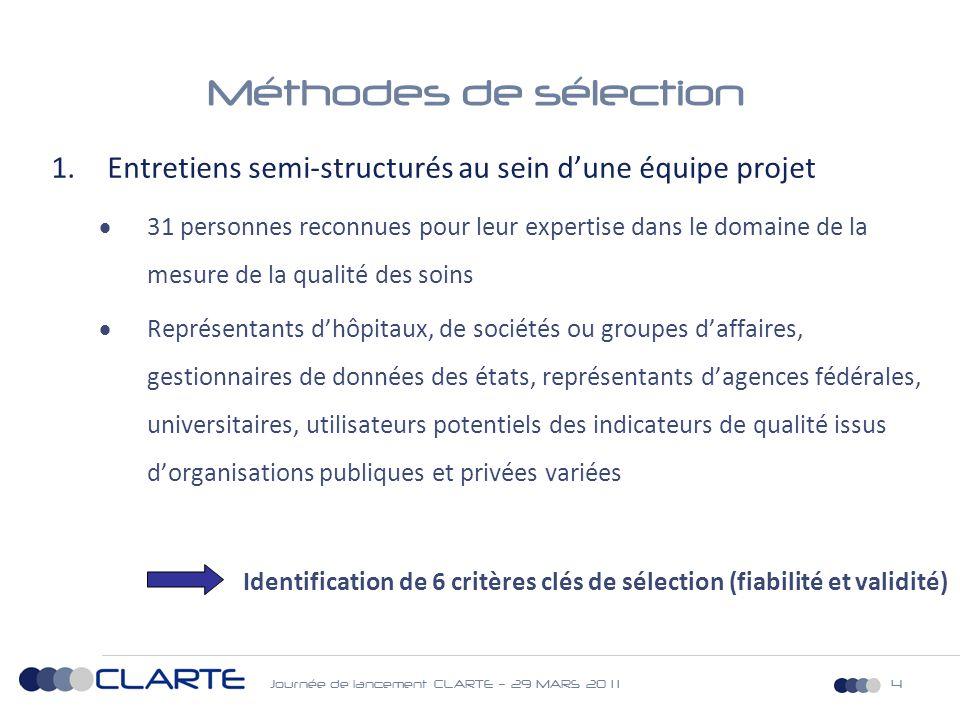 Journée de lancement CLARTE – 29 MARS 20 1 115 Méthodologie de validation (1)  Validation du cadre nosologique  Sociétés savantes d'anesthésie-réanimation, d'infectiologie et de chirurgie  Validation de l'algorithme d'extraction de l'indicateur, adapté aux règles de codage du PMSI français  Panel d'une 20 ne de médecins d'information médicale  Extraction de l'indicateur à partir de la base nationale du PMSI-MCO 2009