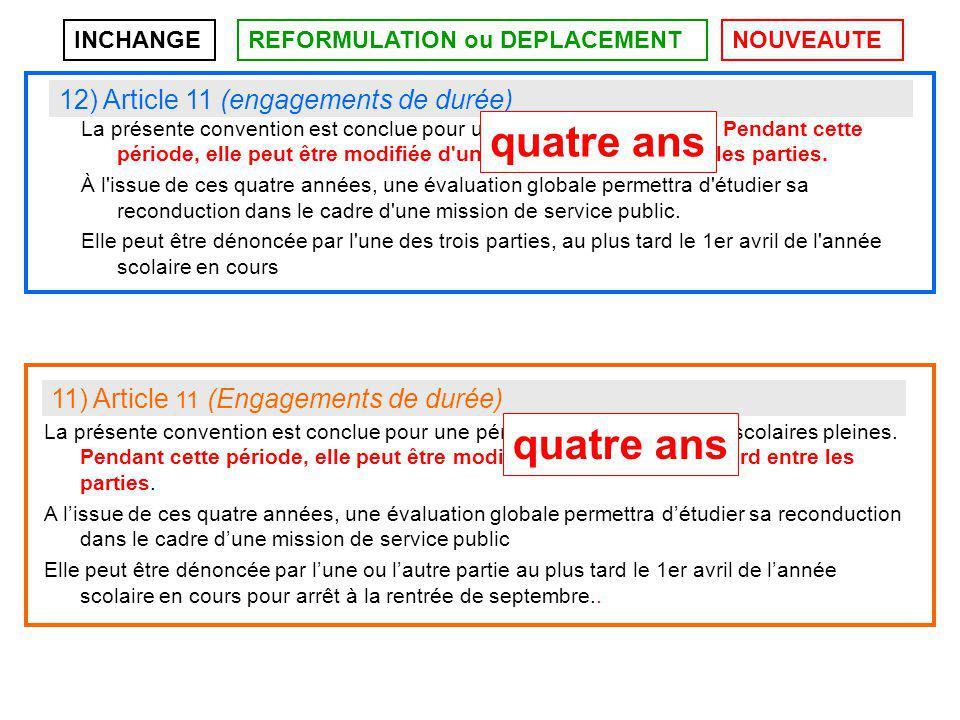 INCHANGEREFORMULATION ou DEPLACEMENTNOUVEAUTE 11) Article 11 (Engagements de durée) La présente convention est conclue pour une période de quatre années scolaires pleines.