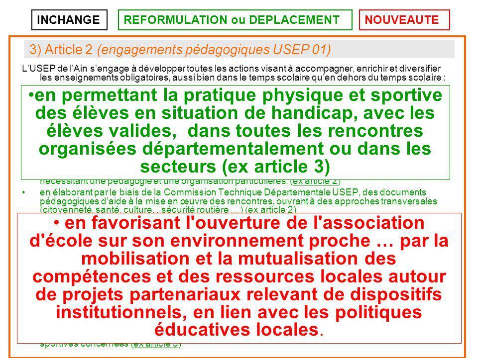 4) Article 3 (engagement institutionnel de l'USEP) L USEP s engage à participer à toute action d ingénierie, de coordination et de formation dans le cadre de la mise en œuvre du volet sportif de l accompagnement éducatif.