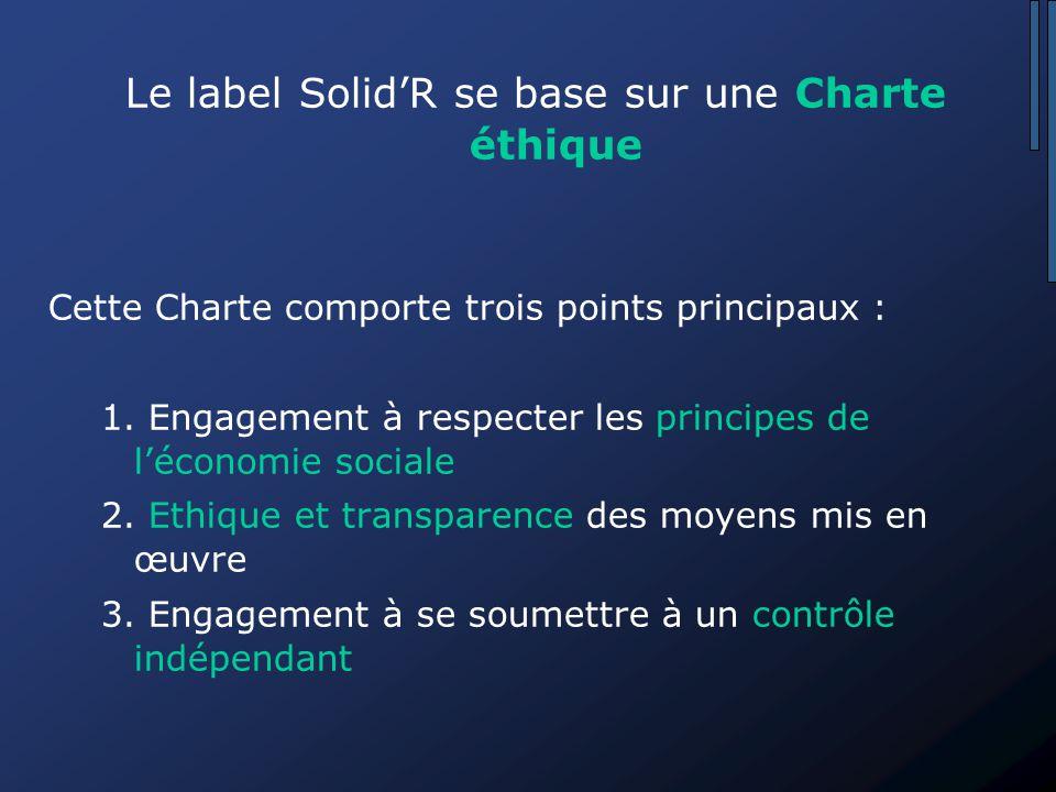 Le label Solid'R se base sur une Charte éthique Cette Charte comporte trois points principaux : 1.