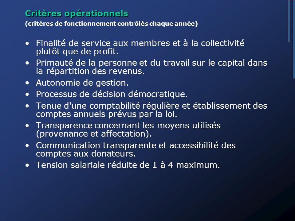 Critères opérationnels (critères de fonctionnement contrôlés chaque année) Finalité de service aux membres et à la collectivité plutôt que de profit.