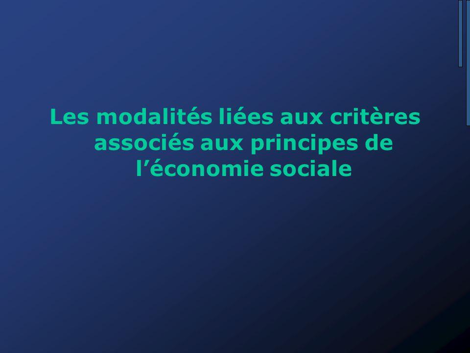 Les modalités liées aux critères associés aux principes de l'économie sociale