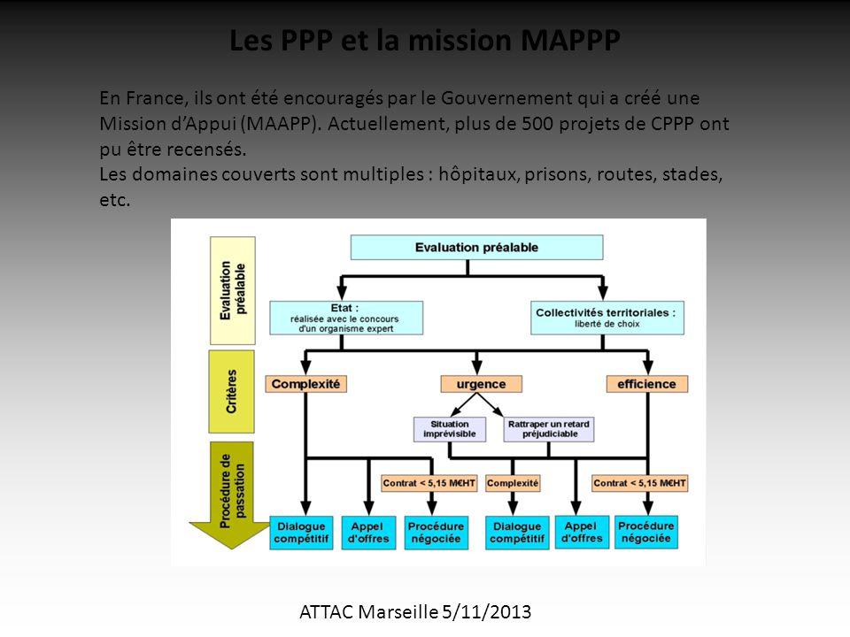 ATTAC Marseille 5/11/2013 Les PPP et la mission MAPPP En France, ils ont été encouragés par le Gouvernement qui a créé une Mission d'Appui (MAAPP).