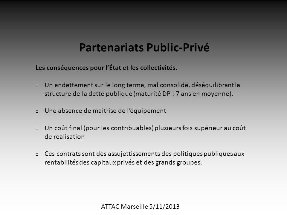 ATTAC Marseille 5/11/2013 Partenariats Public-Privé Les conséquences pour l'État et les collectivités.