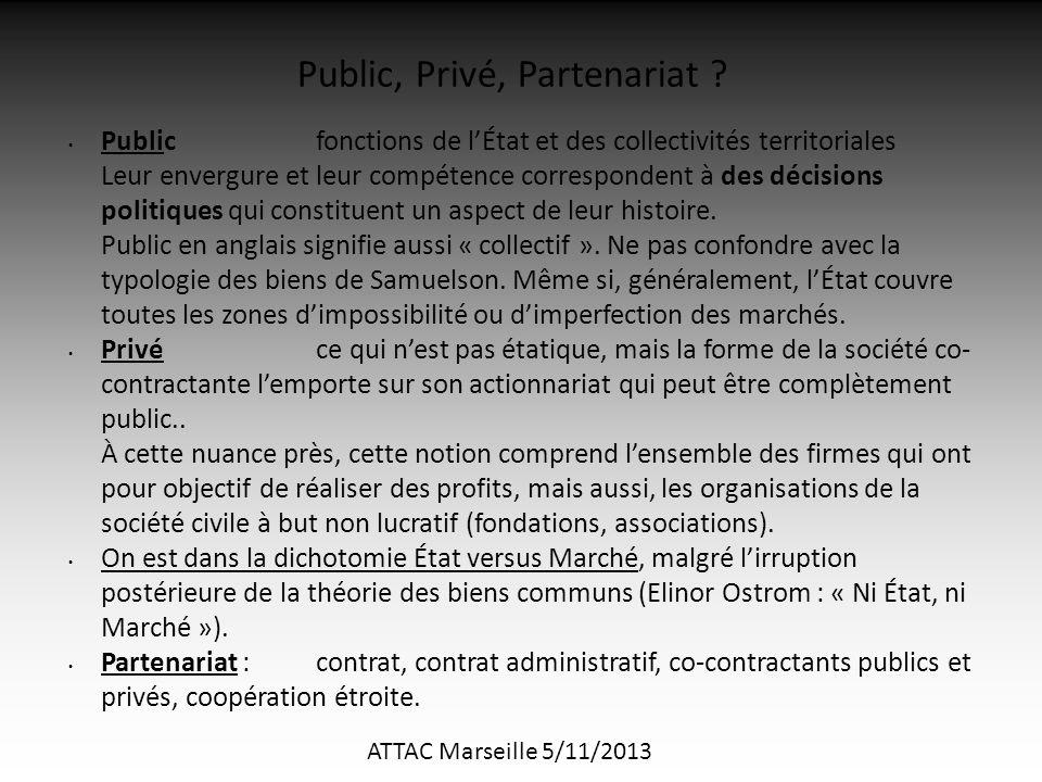 ATTAC Marseille 5/11/2013 Publicfonctions de l'État et des collectivités territoriales Leur envergure et leur compétence correspondent à des décisions politiques qui constituent un aspect de leur histoire.