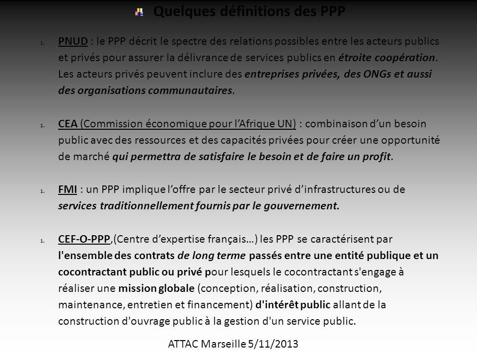 ATTAC Marseille 5/11/2013 Quelques définitions des PPP 1.