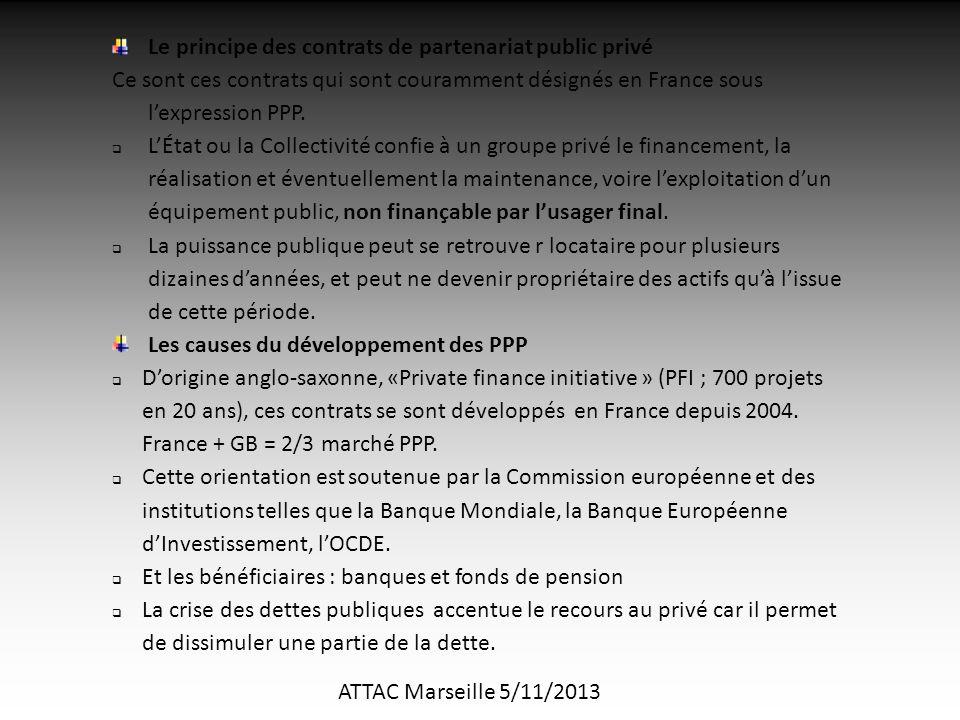 ATTAC Marseille 5/11/2013 Le principe des contrats de partenariat public privé Ce sont ces contrats qui sont couramment désignés en France sous l'expression PPP.