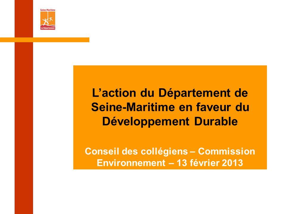 L'action du Département de Seine-Maritime en faveur du Développement Durable Conseil des collégiens – Commission Environnement – 13 février 2013