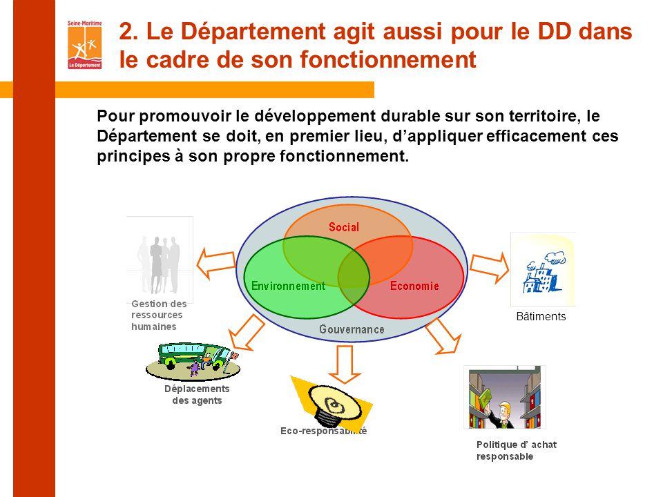 Pour promouvoir le développement durable sur son territoire, le Département se doit, en premier lieu, d'appliquer efficacement ces principes à son propre fonctionnement.
