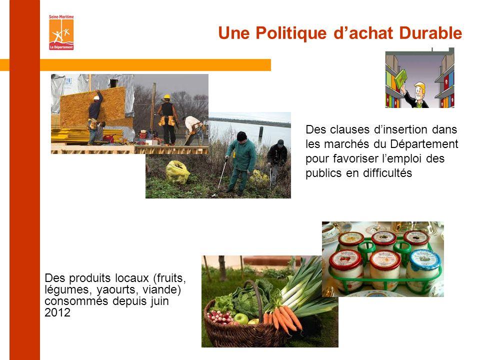 Une Politique d'achat Durable Des clauses d'insertion dans les marchés du Département pour favoriser l'emploi des publics en difficultés Des produits locaux (fruits, légumes, yaourts, viande) consommés depuis juin 2012