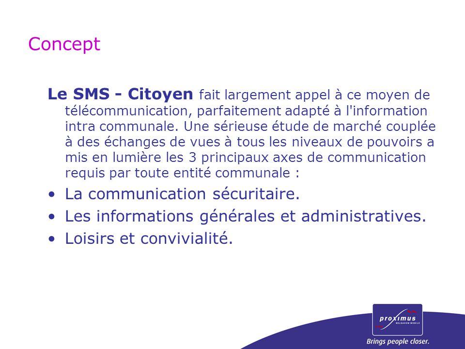 Concept Le SMS - Citoyen fait largement appel à ce moyen de télécommunication, parfaitement adapté à l'information intra communale. Une sérieuse étude
