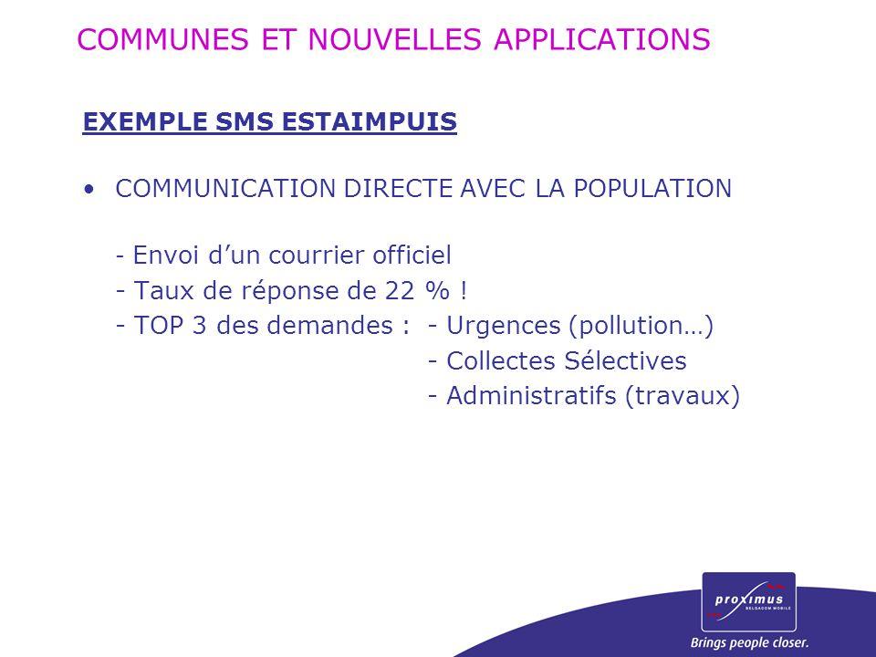 EXEMPLE SMS ESTAIMPUIS COMMUNICATION DIRECTE AVEC LA POPULATION - Envoi d'un courrier officiel - Taux de réponse de 22 % ! - TOP 3 des demandes :- Urg