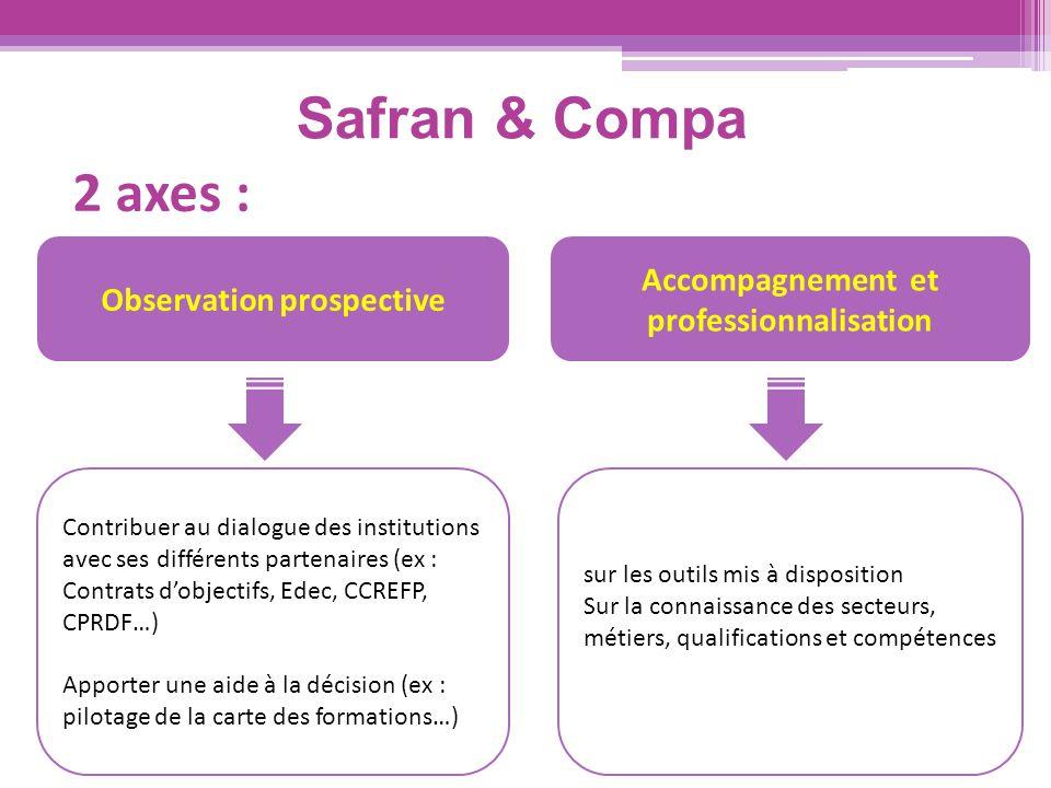 Safran & Compa 2 axes : Accompagnement et professionnalisation Observation prospective Contribuer au dialogue des institutions avec ses différents par