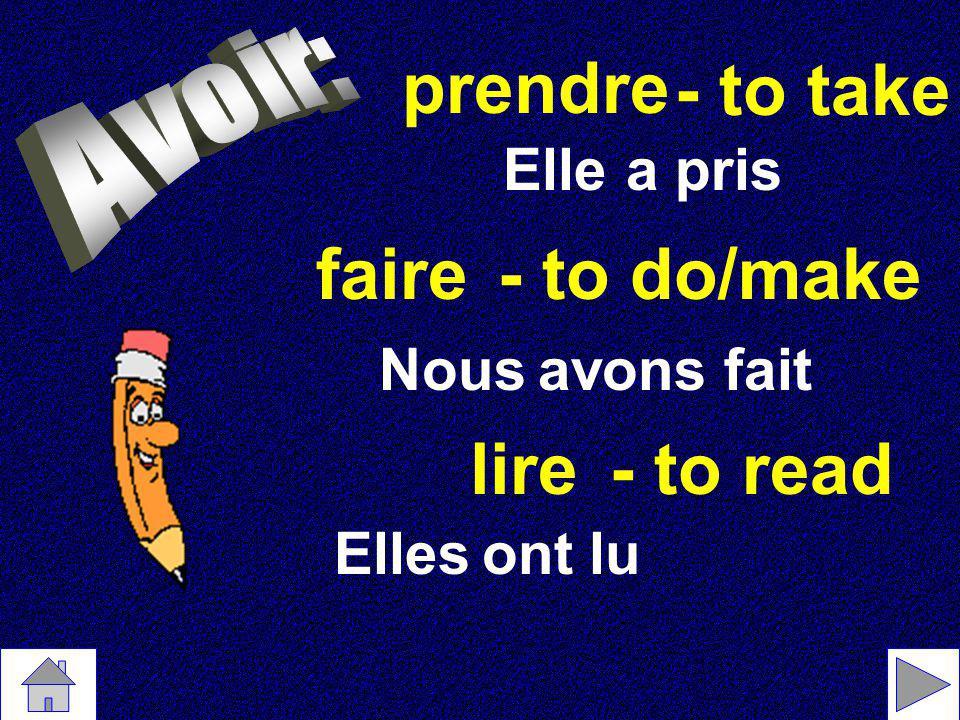 Les verbes irréguliers lire - voir - lu vu prendre - mettre - pris mis