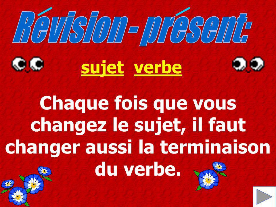 Chaque fois que vous changez le sujet, il faut changer aussi la terminaison du verbe. sujetverbe