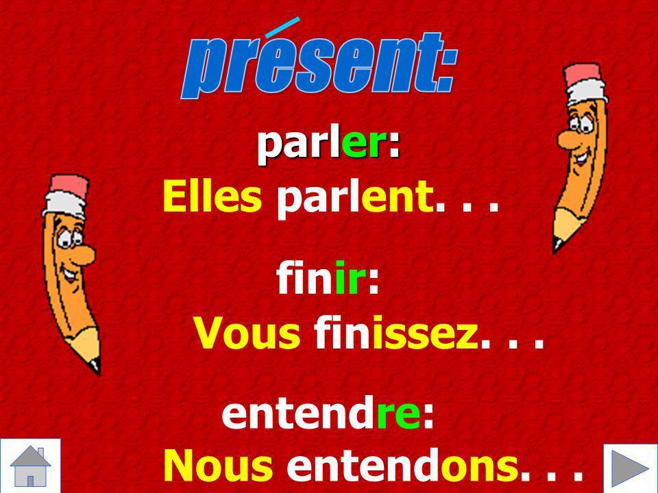 les sujets: Je tu il/elle/on nous vous ils/elles les terminaisons -er-ir-re -e -es -e -ons -ez -ent -is -it -issons -issez -issent -s - -ons -ez -ent