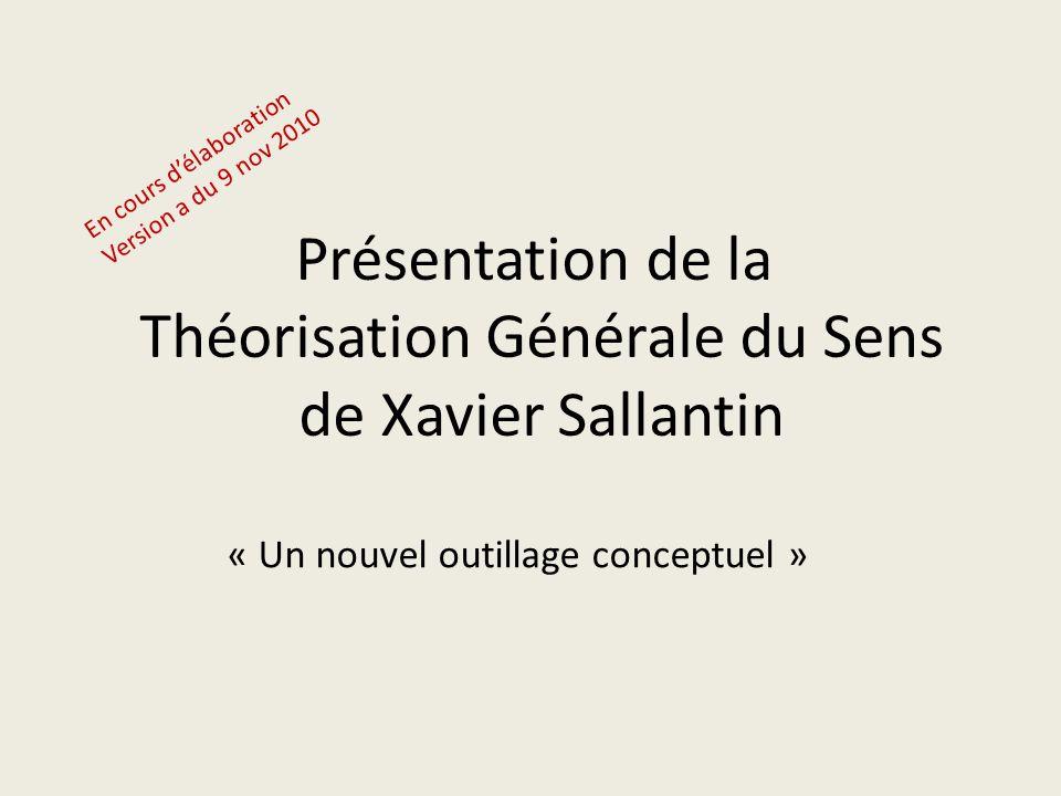 Présentation de la Théorisation Générale du Sens de Xavier Sallantin « Un nouvel outillage conceptuel » En cours d'élaboration Version a du 9 nov 2010