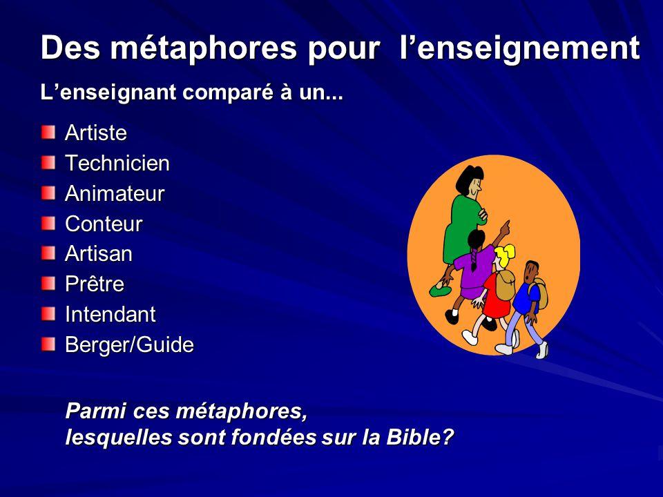 Des métaphores pour l'enseignement L'enseignant comparé à un... ArtisteTechnicienAnimateurConteurArtisanPrêtreIntendantBerger/Guide Parmi ces métaphor