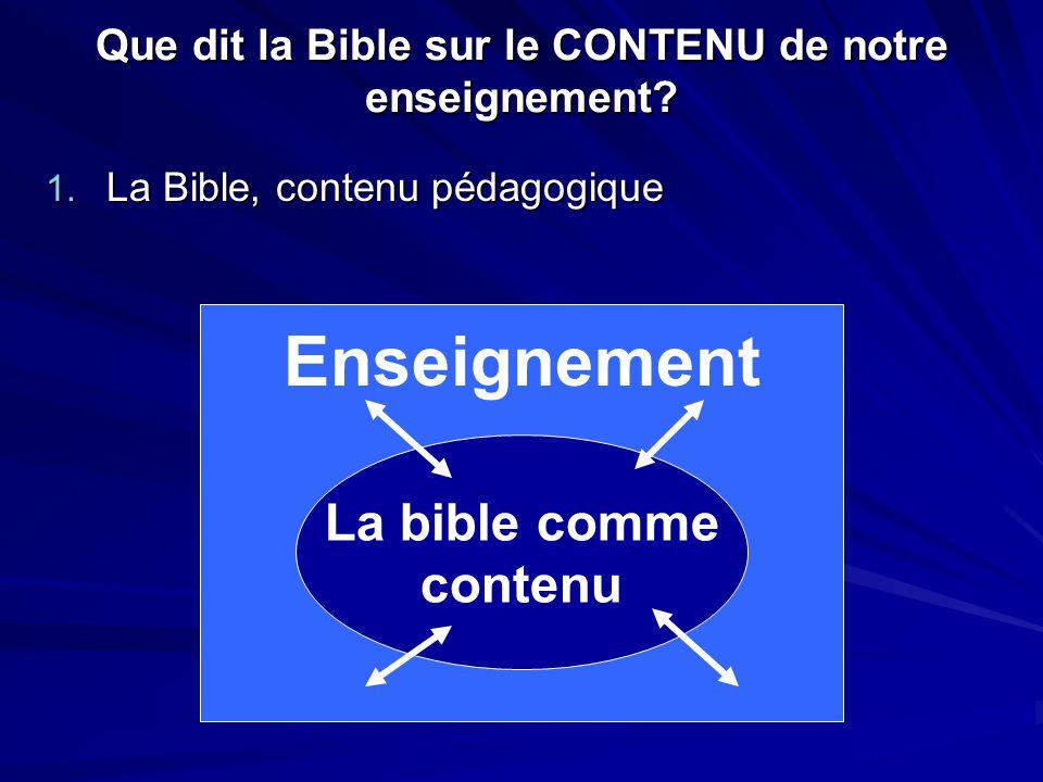 Que dit la Bible sur le CONTENU de notre enseignement? 1. La Bible, contenu pédagogique La bible comme contenu Enseignement