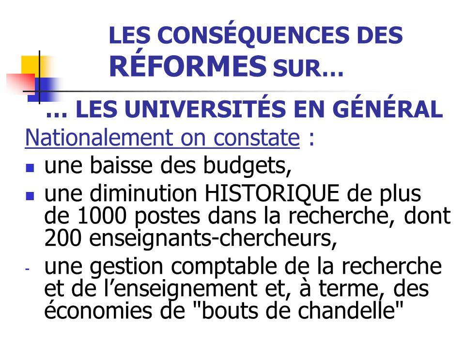 LES CONSÉQUENCES DES RÉFORMES SUR… … LES UNIVERSITÉS EN GÉNÉRAL Nationalement on constate : une baisse des budgets, une diminution HISTORIQUE de plus