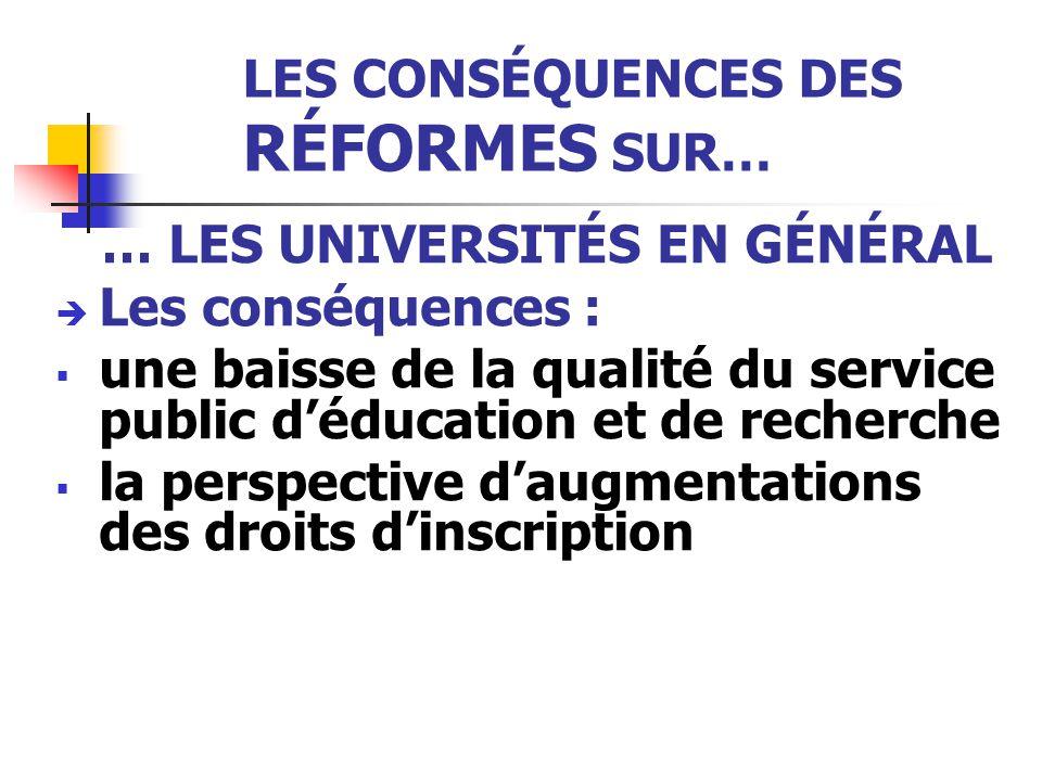 LES CONSÉQUENCES DES RÉFORMES SUR… … LES UNIVERSITÉS EN GÉNÉRAL  Les conséquences :  une baisse de la qualité du service public d'éducation et de recherche