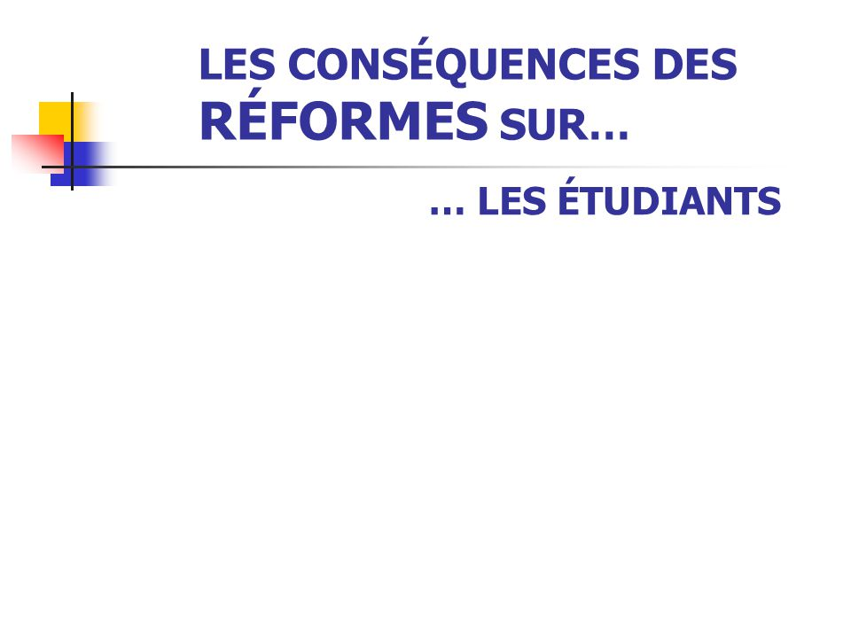 LES CONSÉQUENCES DES RÉFORMES SUR… … LES UNIVERSITÉS EN GÉNÉRAL  Les conséquences :  une baisse de la qualité du service public d'éducation et de re