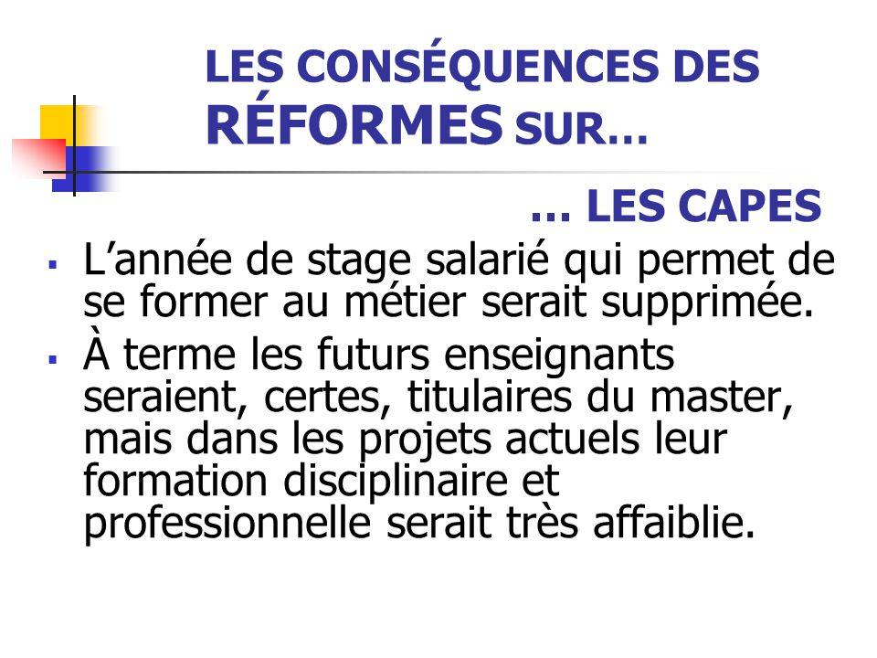 LES CONSÉQUENCES DES RÉFORMES SUR… … LES CAPES  L'année de stage salarié qui permet de se former au métier serait supprimée.