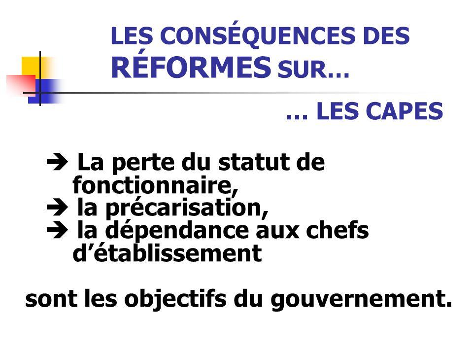 LES CONSÉQUENCES DES RÉFORMES SUR… … LES CAPES  La perte du statut de fonctionnaire,  la précarisation,  la dépendance aux chefs d'établissement