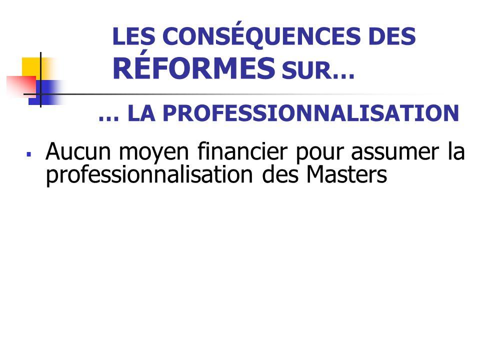 LES CONSÉQUENCES DES RÉFORMES SUR… … LA PROFESSIONNALISATION