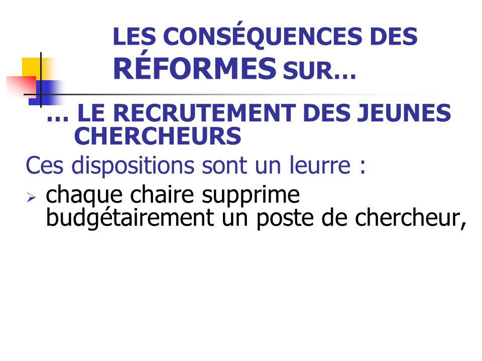LES CONSÉQUENCES DES RÉFORMES SUR… … LE RECRUTEMENT DES JEUNES CHERCHEURS Ces dispositions sont un leurre :