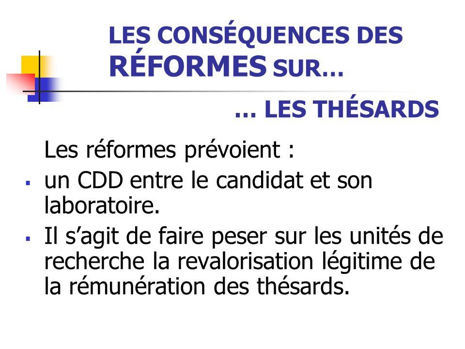 LES CONSÉQUENCES DES RÉFORMES SUR… … LES THÉSARDS Les réformes prévoient :  un CDD entre le candidat et son laboratoire.