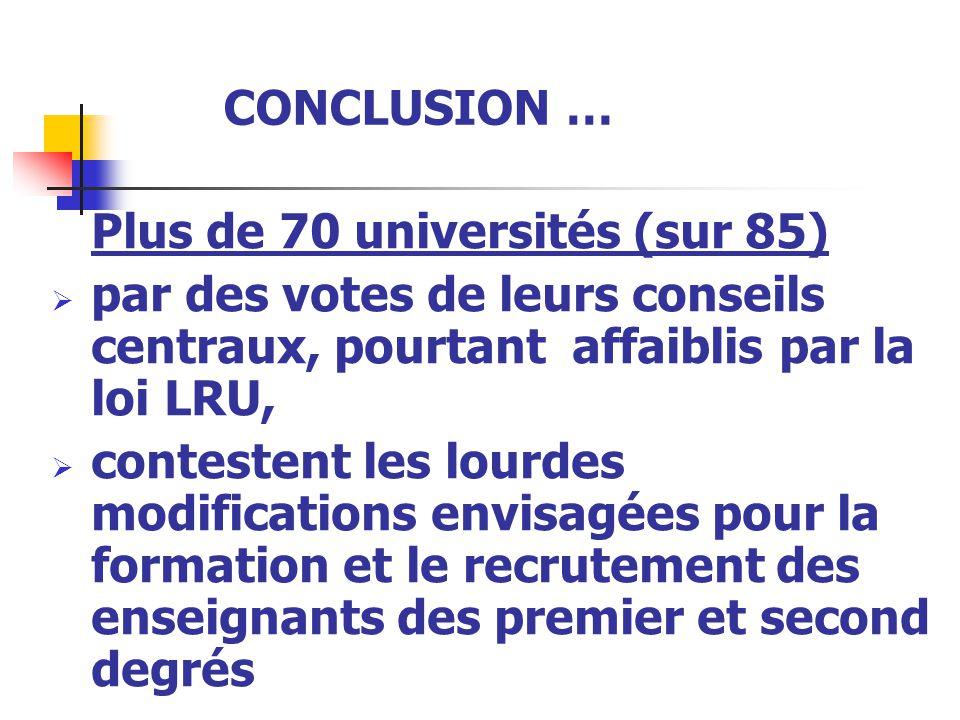 CONCLUSION … Plus de 70 universités (sur 85)  par des votes de leurs conseils centraux, pourtant affaiblis par la loi LRU,