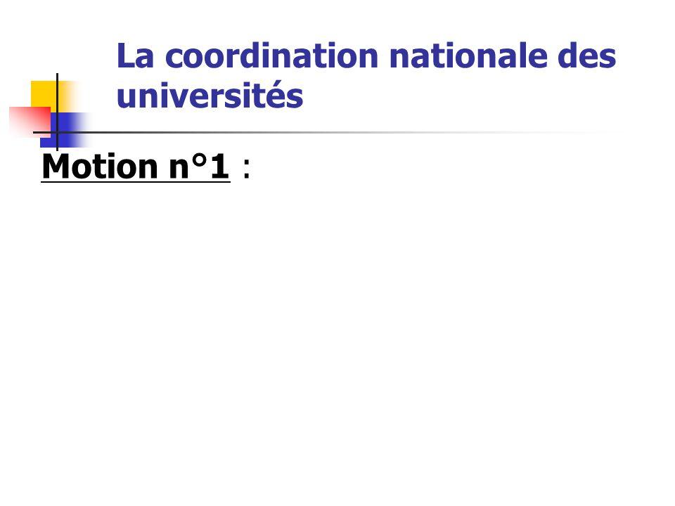 Le 22 janvier 2009, la coordination nationale des universités a réuni des délégués provenant de quarante six universités. Elle a voté les motions suiv