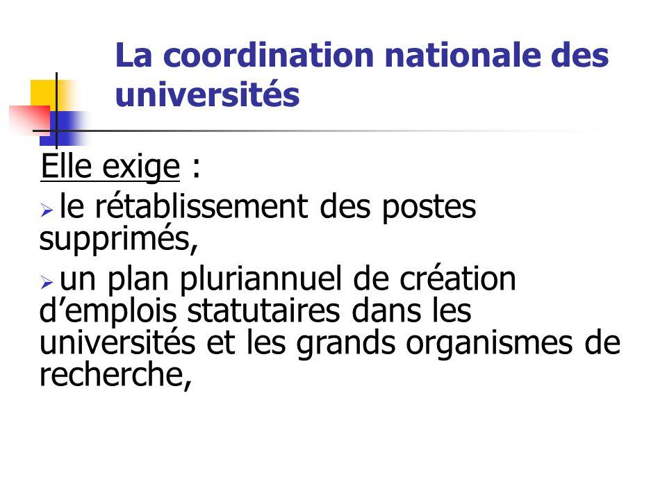 La coordination nationale des universités Elle exige :  le rétablissement des postes supprimés,