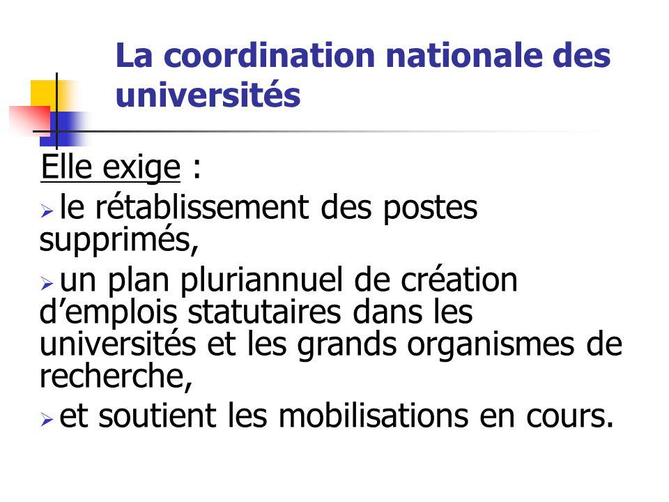 La coordination nationale des universités Elle exige :  le rétablissement des postes supprimés,  un plan pluriannuel de création d'emplois statutaires dans les universités et les grands organismes de recherche,