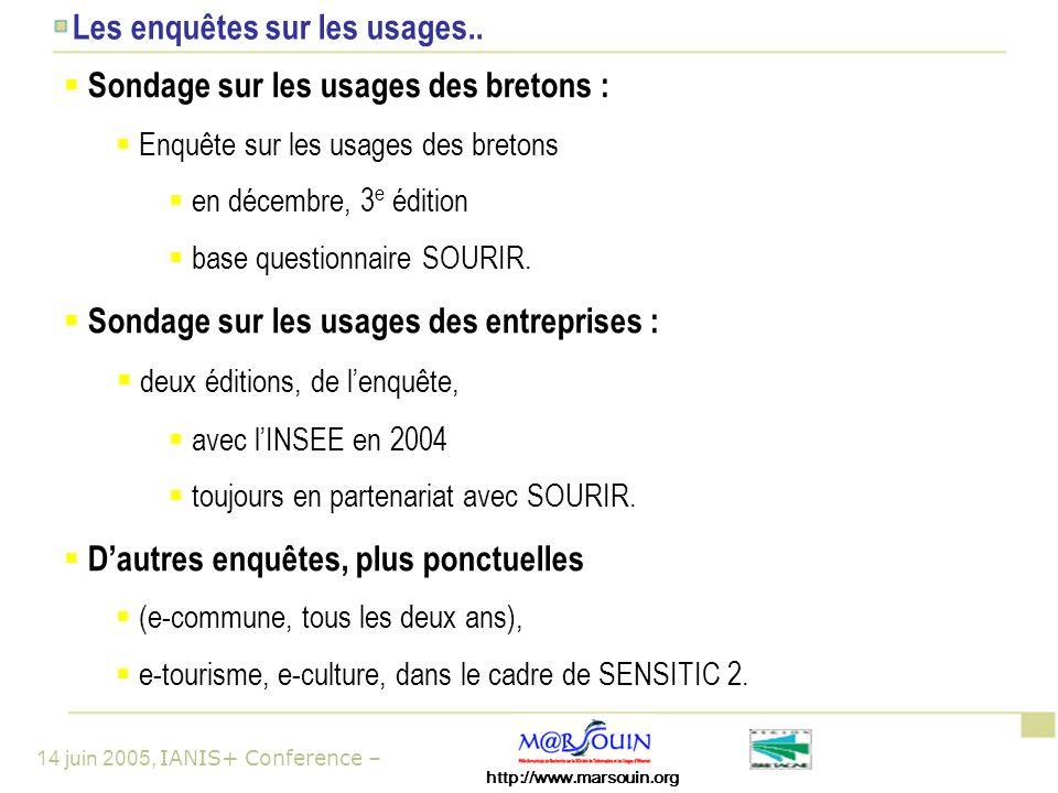http://www.marsouin.org 14 juin 2005, IANIS+ Conference – Les enquêtes sur les usages..