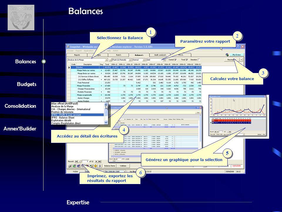 Expertise Balances Budgets Consolidation Annex'Builder Balances Sélectionnez la Balance 1 1 Calculez votre balance 3 3 Paramétrez votre rapport 2 2 Imprimez, exportez les résultats du rapport 6 6 Accédez au détail des écritures 4 4 Générez un graphique pour la sélection 5 5