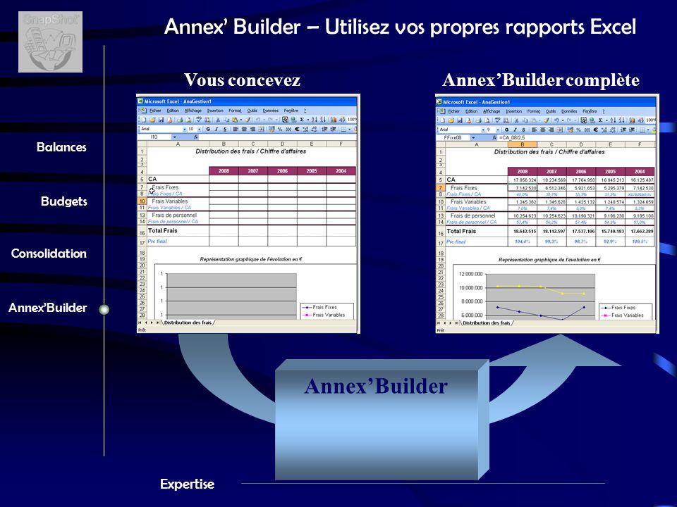 Expertise Balances Budgets Consolidation Annex'Builder Annex' Builder – Utilisez vos propres rapports Excel Annex'Builder Vous concevezAnnex'Builder complète Filtres - Société - Années - Clients - Plans - …