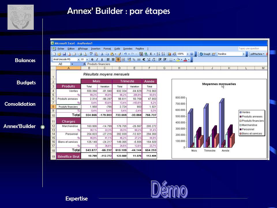 Expertise Balances Budgets Consolidation Annex'Builder Annex' Builder : par étapes Sélectionnez le rapport 1 3 4 Définissez la société, l'exercice, les paramètres 2