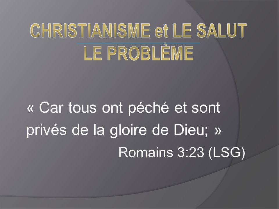 « Car tous ont péché et sont privés de la gloire de Dieu; » Romains 3:23 (LSG)