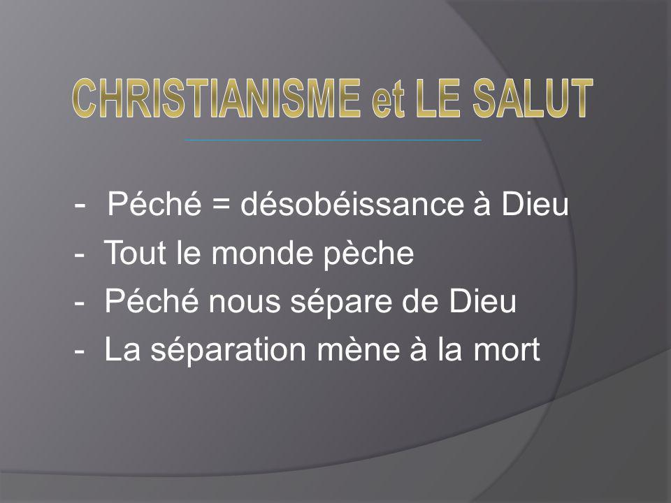 - Péché = désobéissance à Dieu - Tout le monde pèche - Péché nous sépare de Dieu - La séparation mène à la mort