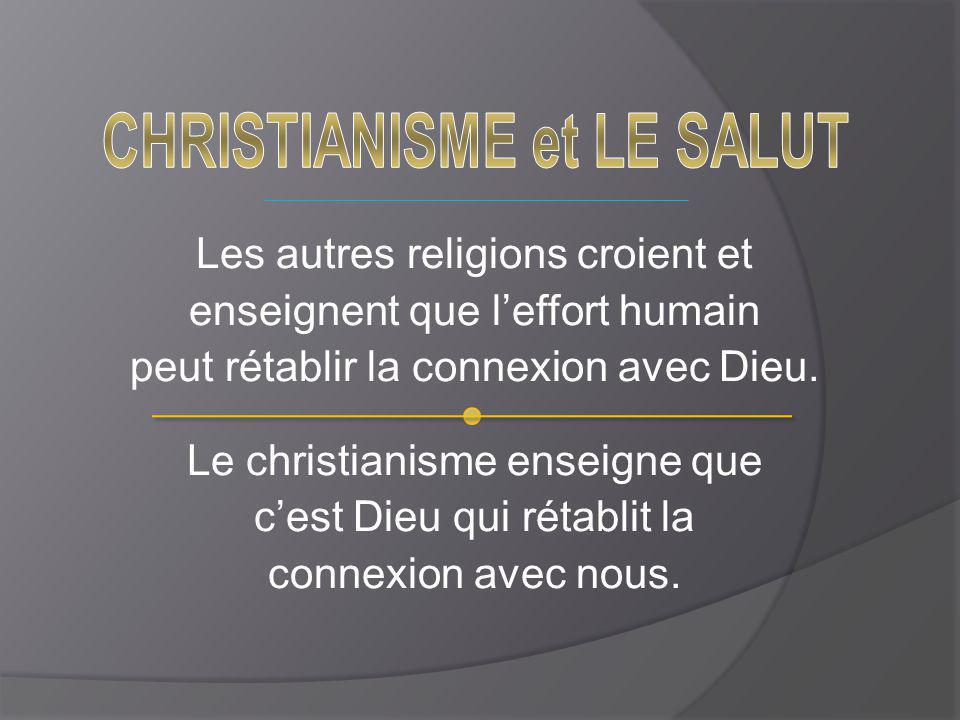 Les autres religions croient et enseignent que l'effort humain peut rétablir la connexion avec Dieu. Le christianisme enseigne que c'est Dieu qui réta