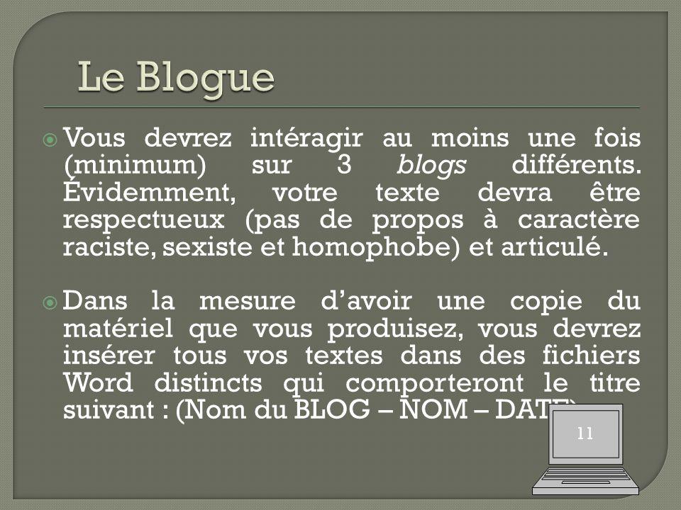  Vous devrez intéragir au moins une fois (minimum) sur 3 blogs différents.
