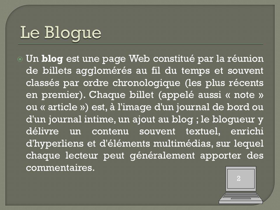  Un blog est une page Web constitué par la réunion de billets agglomérés au fil du temps et souvent classés par ordre chronologique (les plus récents en premier).