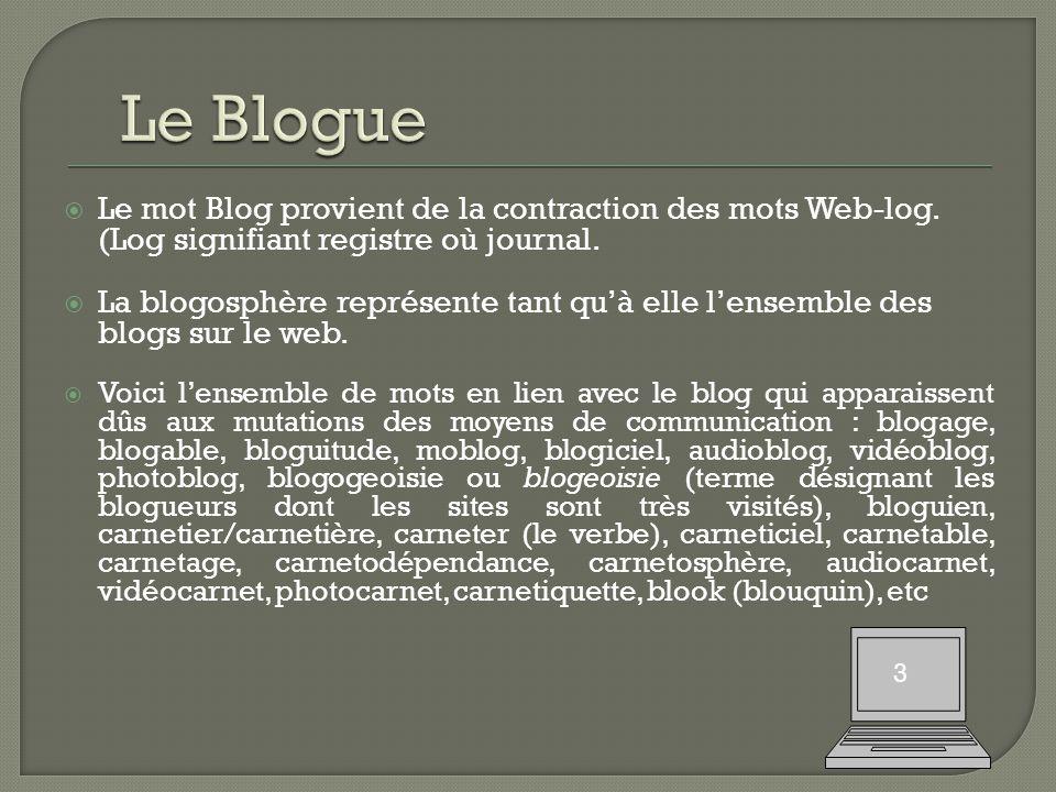  Le mot Blog provient de la contraction des mots Web-log.